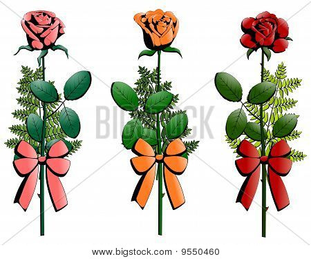 three small bouquets of roses decorated with ribbons
