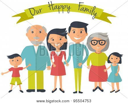 Happy family illustration. Father, mother, grandparents, son and daughter portrait with banner.