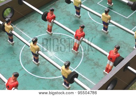 vintage table football closeup, foosball