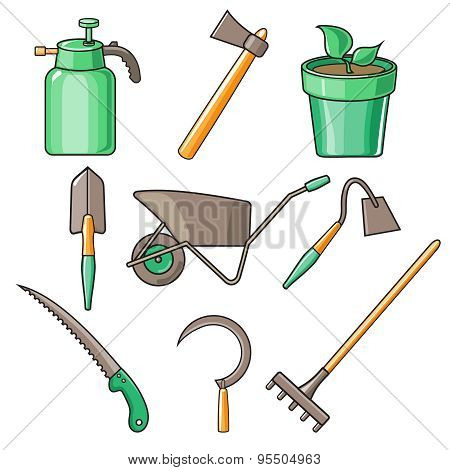 Garden Tools Flat Design illustration