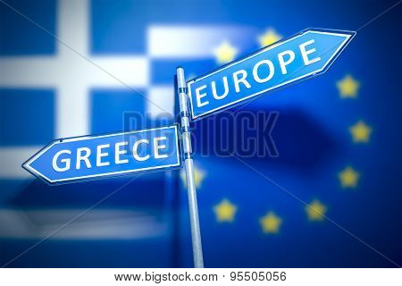 A road sign Greece and Europe in different directions