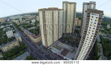 RUSSIA, MOSCOW - MAY 21, 2014: Cityscape with street traffic near dwelling complex Izmailovsky at spring day. Aerial view.