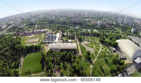 RUSSIA, MOSCOW - MAY 24, 2014: Cityscape with inflatable cupola near Locomotive stadium. Aerial view