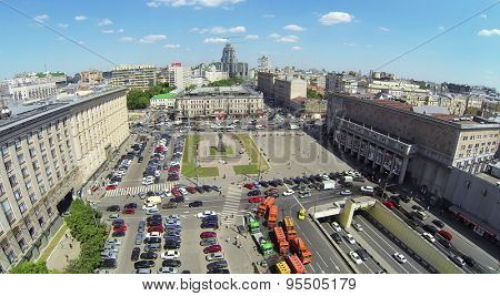 RUSSIA, MOSCOW - MAY 23, 2014: Townscape with traffic on Triumph Square at spring sunny day. Aerial view