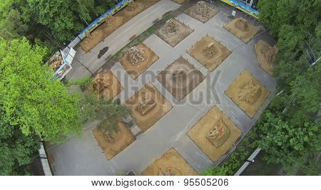 RUSSIA, MOSCOW - MAY 17, 2014: Outdoor exhibition area with sand sculptures in Sokolniki park at spring day. Aerial view