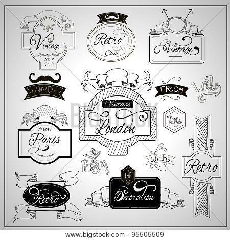 Retro design catchwords elements on whiteboard