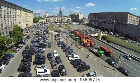 RUSSIA, MOSCOW - MAY 23, 2014: Triumphal Square with traffic at spring sunny day. Aerial view