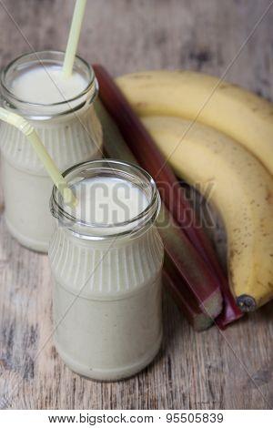 Smoothie Of Banana And Rhubarb With Yogurt