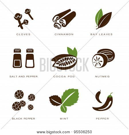 Spices, Condiments and Herbs Vector