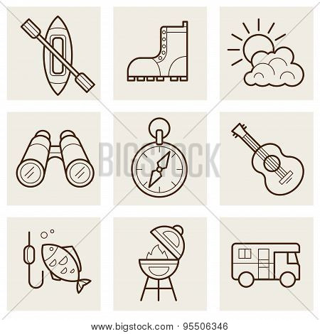 Camping and Outdoor Outline Icons