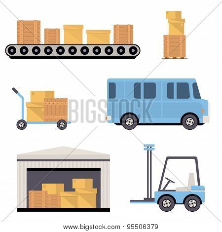 Warehouse Icons Flat