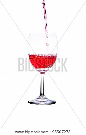 glass and red liquid isolated on white background.