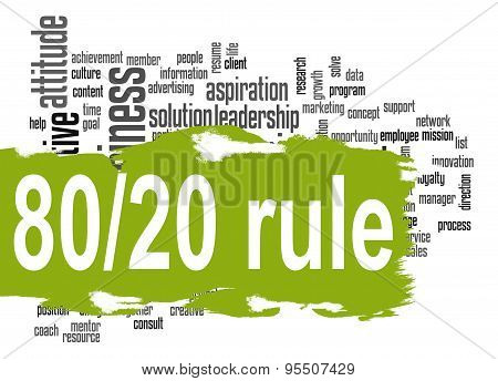 Rule 80 20 Word Cloud With Green Banner