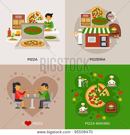 Pizzeria Concept Icons Set