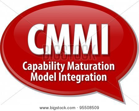 Speech bubble illustration of information technology acronym abbreviation term definition CMMI Capability Maturation Model Integration
