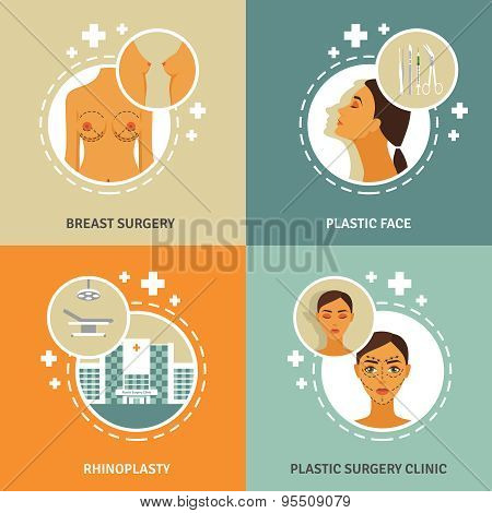 Plastic surgery concept 4 flat icons