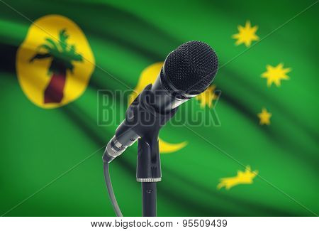 Microphone On Stand With National Flag On Background - Cocos (keeling) Islands