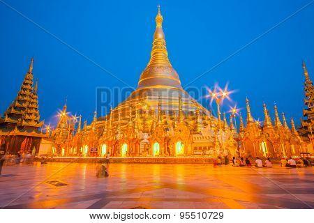 Shwedagon The Golden Pagoda Illuminated In The Evening In Yangon, Myanmar