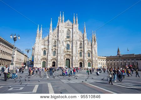 The Duomo Of Milan Cathedral In Milan, Italy