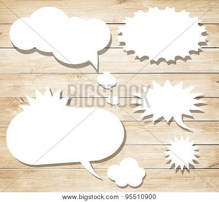 White vector speech bubbles with shadow like clouds on brown wooden wall. Vector Illustration