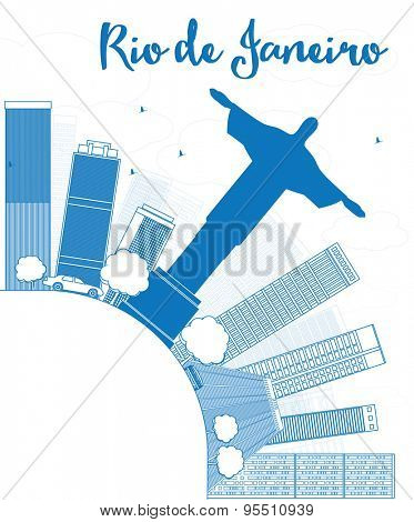 Outline Rio de Janeiro skyline with blue buildings and copy space. Vector illustration