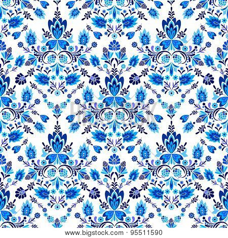 vector folk pattern in victorian blues