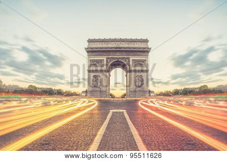 Arc De Triomphe Or Arch Of Triumph Of The Star Is One Of The Most Famous Monuments In Paris, France