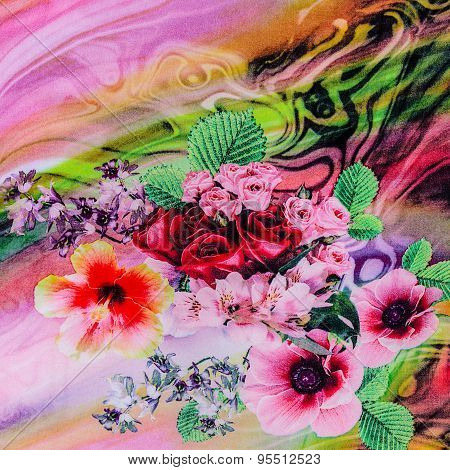 Texture Of Print Fabric Striped Natural Flowers