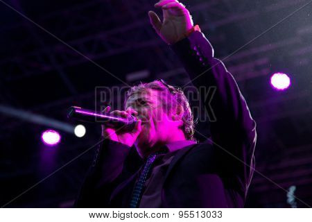 BONTIDA, ROMANIA - JUNE 27, 2015: Dub Pistols performs live at Electric Castle festival, one of the biggest music festivals in Romania