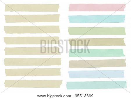 Set of colorful horizontal and different size sticky tape,adhesive pieces, menu template  with copy