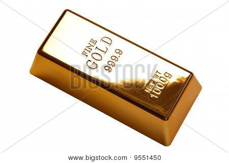 Gold Bar Isolated With Clipping Path