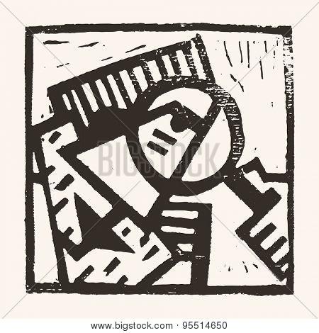 Linocut geometric character- 01