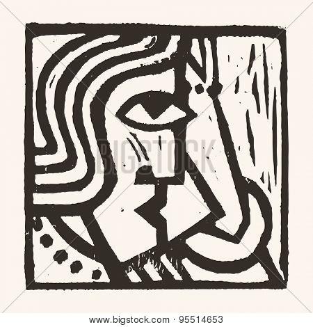 Linocut geometric character- 11