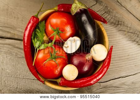 Ripe Fresh Vegetables In Wooden . The Icon For Healthy Eating, Diets, Weight Loss.