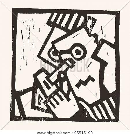 Linocut geometric character- 06