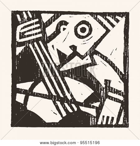 Linocut geometric character- 08