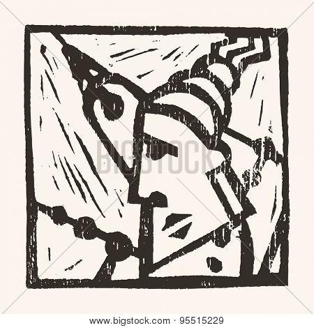 Linocut geometric character- 10