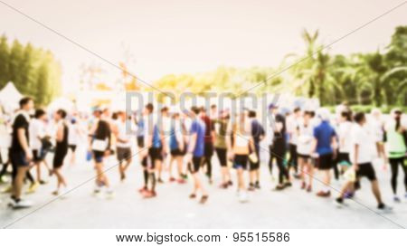 Blurred Crowd Of Athlete For Marathon