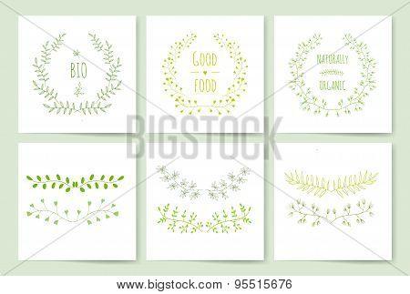 Hand Drawn vintage floral elements. Swirls, laurels, frames, leaves, banners and curls. Laurels. Wed