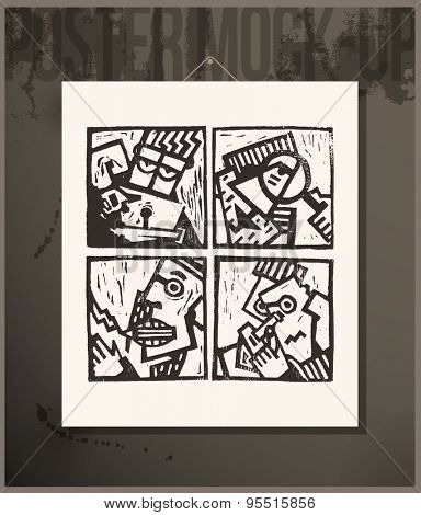 Poster- Linocut Abstract Characters