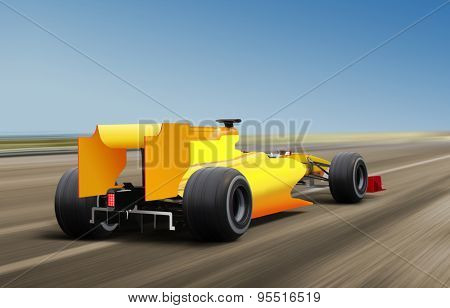 illustration of race car on speed track - motion blur