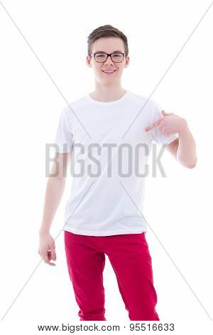 Portrait Of Happy Young Man In Blank T-shirt Pointing At Himself Isolated On White