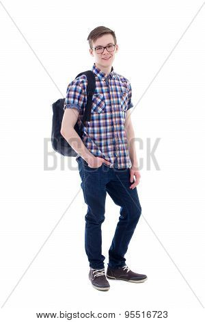 Full Length Portrait Of Handsome Teenage Boy With Backpack Isolated On White