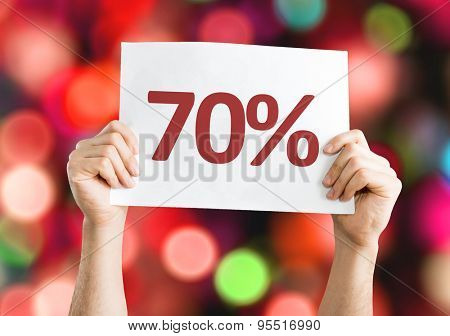 70% card with bokeh background