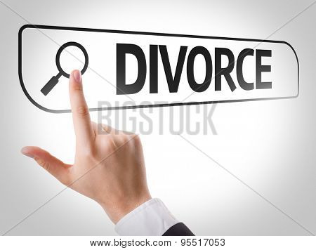 Divorce written in search bar on virtual screen