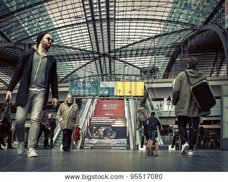 BERLIN, Germany - MARCH 28, 2015: Main train stantion in Berlin -  Hauptbahnhof is one of modern stantion in Europe.