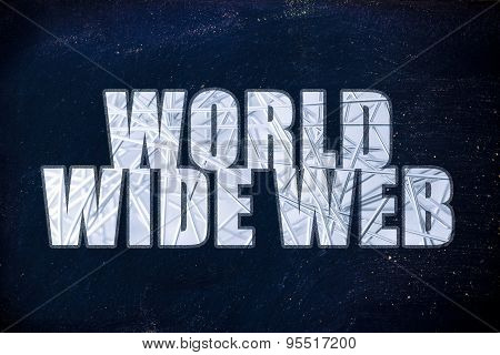 Internet Words, World Wide Web With Metal Web Overlay