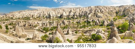 Wide panoramic photo of beautiful mountains near Goreme, Cappadocia, Turkey