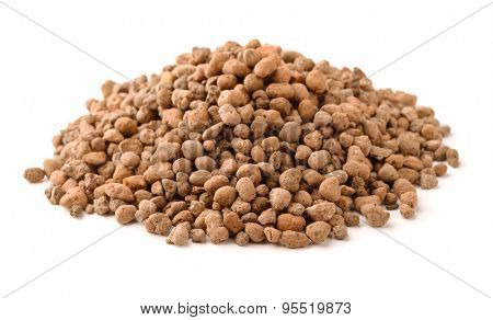 Expanded clay insulation isolated on white