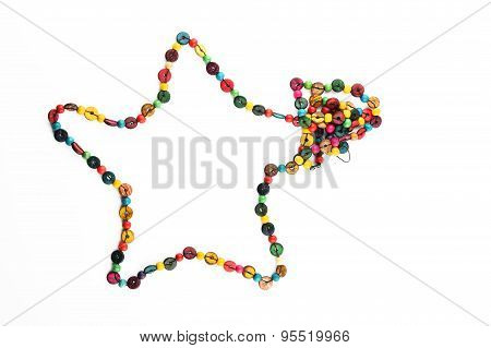 Star Shaped Colorful Wooden Beads Necklace Isolated On White